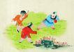 人物、待女、童戏0007,人物、待女、童戏,中国国画,追赶 草地 玩伴 童年 游戏