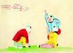人物、待女、童戏0008,人物、待女、童戏,中国国画,祥云 板凳 召唤 童趣 天空