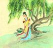 人物、待女、童戏0011,人物、待女、童戏,中国国画,树下美人 等候 美女 古典 柳枝