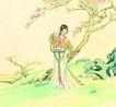 人物、待女、童戏0012,人物、待女、童戏,中国国画,相似 桃花 春意 春意黯然 春天