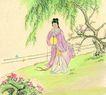 人物、待女、童戏0013,人物、待女、童戏,中国国画,柳树 柳条 绿色 绿意 送别