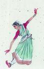 人物、待女、童戏0018,人物、待女、童戏,中国国画,舞蹈 名族舞 少数民族 长裙 名族服
