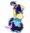 人物、待女、童戏0020,人物、待女、童戏,中国国画,少数 民族 姑娘 舞蹈