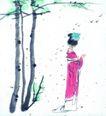 人物、待女、童戏0022,人物、待女、童戏,中国国画,小姐 花园 树木