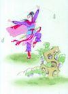 人物、待女、童戏0024,人物、待女、童戏,中国国画,女侠 练武 英姿