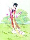 人物、待女、童戏0025,人物、待女、童戏,中国国画,贵妇 荷花 游玩