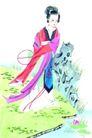 人物、待女、童戏0029,人物、待女、童戏,中国国画,扇子 池边 莲花