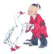 人物、待女、童戏0030,人物、待女、童戏,中国国画,幼童 白鹅 喂食