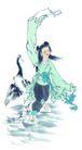人物、待女、童戏0031,人物、待女、童戏,中国国画,女子 动物 衣饰