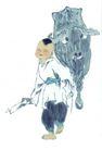 人物、待女、童戏0032,人物、待女、童戏,中国国画,牡童 顽童 牵着牛