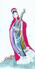 人物、待女、童戏0036,人物、待女、童戏,中国国画,乐器 风衣 琵琶