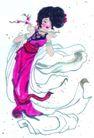 人物、待女、童戏0037,人物、待女、童戏,中国国画,彩带 古装 身姿