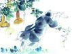 十二生肖0022,十二生肖,中国国画,兔子 水墨画 写生