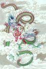 十二生肖0030,十二生肖,中国国画,祥云 云彩 飞舞
