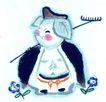 十二生肖0073,十二生肖,中国国画,猪八戒 背起 钉耙