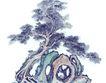 古树奇石0010,古树奇石,中国国画,镂空 水墨 笔锋