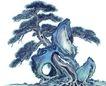 古树奇石0012,古树奇石,中国国画,穿插 松树 怪石