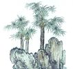 古树奇石0014,古树奇石,中国国画,针叶 笔直 顶峰