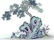 古树奇石0016,古树奇石,中国国画,倚靠 自然 树木