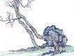 古树奇石0017,古树奇石,中国国画,古树 古木 景色 景观 石头
