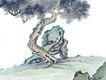 古树奇石0020,古树奇石,中国国画,奇异 石头 怪松