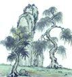 古树奇石0026,古树奇石,中国国画,柳树 山石 奇石
