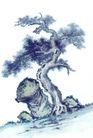 古树奇石0038,古树奇石,中国国画,怪石 弯松