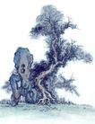 古树奇石0041,古树奇石,中国国画,奇石