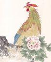 吉祥鸟0016,吉祥鸟,中国国画,鸡冠 公鸡 鲜花 打鸣 报晓