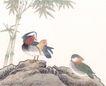 吉祥鸟0027,吉祥鸟,中国国画,竹叶 动物 吉祥鸟