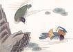 吉祥鸟0028,吉祥鸟,中国国画,水池 鸭子 花叶