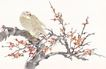 吉祥鸟0031,吉祥鸟,中国国画,花枝 停靠小鸟