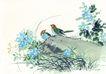 枝头飞乌0002,枝头飞乌,中国国画,岩石 草丛 墨色