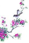 枝头飞乌0010,枝头飞乌,中国国画,花瓣 花朵 点彩