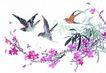 枝头飞乌0016,枝头飞乌,中国国画,燕子 迁徙 飞翔