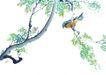 枝头飞乌0022,枝头飞乌,中国国画,黄鹂 树枝 啼叫