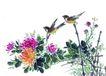 枝头飞乌0023,枝头飞乌,中国国画,菊花 鸟儿 花朵
