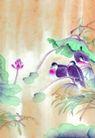 枝头飞乌0024,枝头飞乌,中国国画,鸳鸯 池水 荷叶