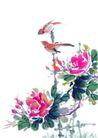 枝头飞乌0025,枝头飞乌,中国国画,红花 鲜艳 景色
