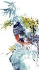 枝头飞乌0038,枝头飞乌,中国国画,竹荫 母鸡
