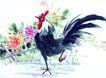 枝头飞乌0052,枝头飞乌,中国国画,家禽 公鸡 红鸡冠