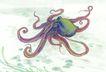水族世界0003,水族世界,中国国画,乌贼 海底 动物 软体动物 深海