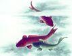 水族世界0008,水族世界,中国国画,鲤鱼 水面 游弋