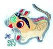 猫专辑0008,猫专辑,中国国画,猫头 涂画 王字