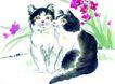 猫专辑0031,猫专辑,中国国画,两只小猫 亲密接触 亲脸