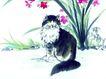 猫专辑0035,猫专辑,中国国画,动物 黑猫 花朵