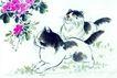 猫专辑0038,猫专辑,中国国画,画画 国画 鲜花