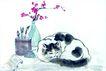 猫专辑0039,猫专辑,中国国画,睡着 睡姿 花瓶