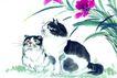 猫专辑0040,猫专辑,中国国画,草地 昂着头 姿势