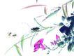 百态昆虫0014,百态昆虫,中国国画,竹叶 倒伏 红喇叭